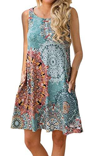 Andaa Womens Crew Neck Printed Sleeveless Casual Tunic Tops Summer Swing Tee Shirt Dress with Pockets ()