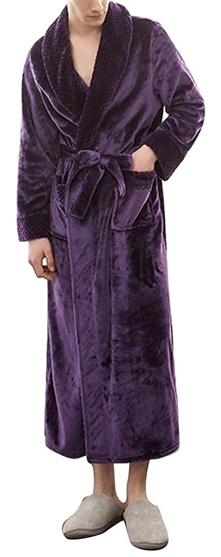 XTX Men Fall Winter Bathing Flannel Solid Color Plus Size Kimono Lounge Thicken Robes