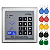 LIBO Standalone Access Control Keypad RFID 125KHz Card Reader Door Lock with 10 Proximity Key Fobs for Door Security System K2000