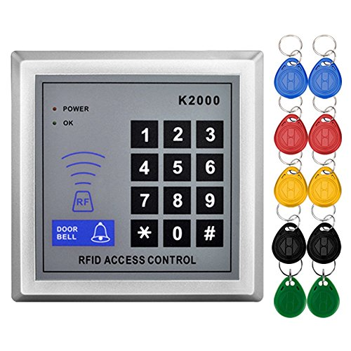 (Standalone Access Control Keypad RFID 125KHz Card Reader Door Lock with 10 Proximity Key Fobs for Door Security System K2000)