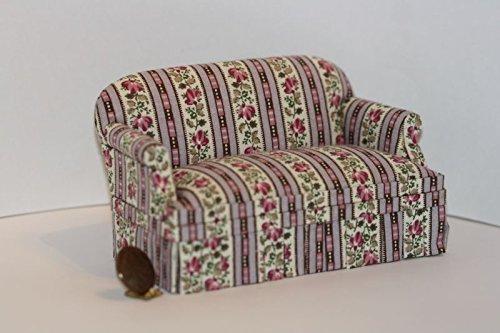 Trellis Stripe - Dollhouse Miniature Comfy Upholstered Sofa in Lavender Trellis Stripe