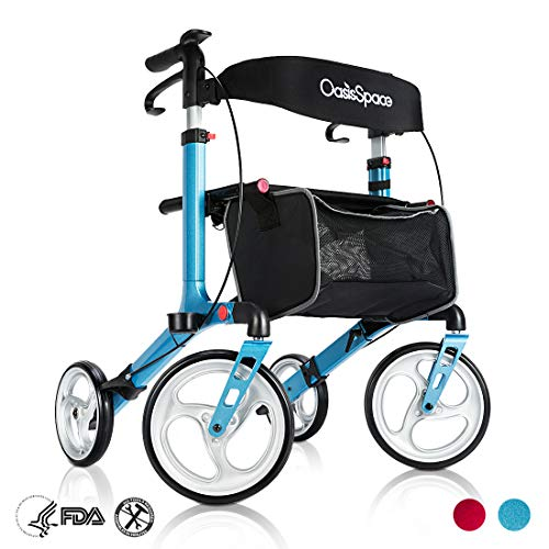 OasisSpace OasisSpace Aluminum Rollator Walker, with 10'' Wheels and Seat Compact Folding Design Lightweight Baking Complimentary Carry Bag (Blue) price tips cheap