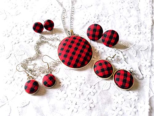 Button Necklace Earrings - Red and Black Plaid Fabric Button Earrings, Necklace or Set