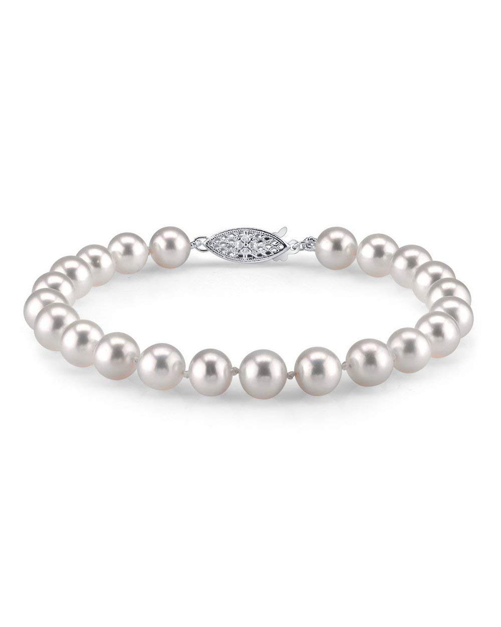 THE PEARL SOURCE 14K Gold 7-7.5mm Round White Japanese Akoya Saltwater Cultured Pearl Bracelet for Women by The Pearl Source
