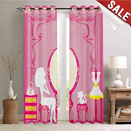 Girls, Thermal Insulating Blackout Curtain, Lady Sitting in