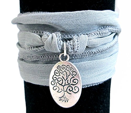 - Yoga Grey Silk Wrap Inspirational Bracelet ~ 3 Different Designs ~ Natural Burlap Gift Bag Included