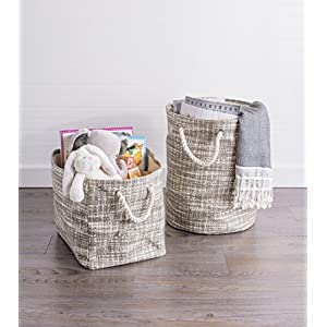 "DII Oversize Woven Paper Storage Basket or Bin, Collapsible & Convenient Home Organization Solution for Office, Bedroom, Closet, Toys, & Laundry (Medium – 15x10x12""), Stone Tweed"