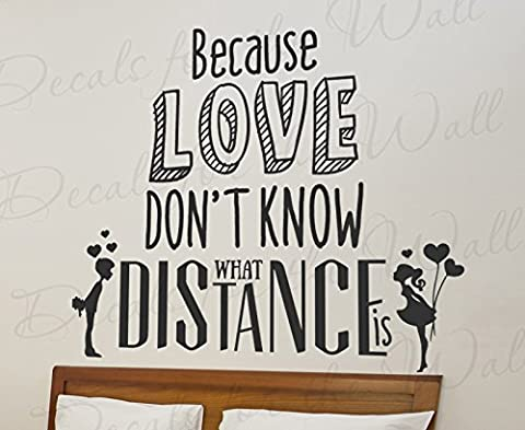 Because Love Don't Know What Distance Is - Hunter Hayes I Want Crazy Country Music Song Lyrics Marriage Couple Bedroom - Vinyl Decal Wall Decor Letter Art Quote Sticker inspirational Saying Lettering (Country Lyrics Sticker)