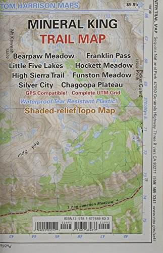 Mineral King Trail Map: Bearpaw Meadow, Franklin Pass, Little Five Lakes, Hockett Meadow, High Sierra Trail, Funston Meadow, Silver City, Chag (Tom Harrison Maps)