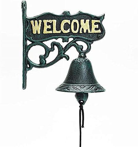 アンティークのドアベル ようこそレトロ上場ドア鋳鉄アイアンドアベルをダブル両面 アンティークドアベル 呼び鈴 (色 : Bronze, Size : One size)