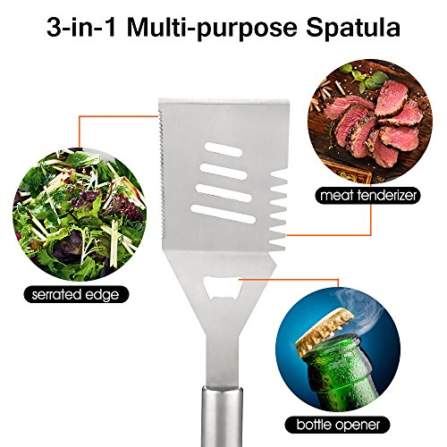 Z ZANMAX BBQ Tools Set, 18 Pcs Stainless Steel Barbecue Accessories BBQ Tongs, Spatula, Fork, Skewers, Corn Holders,Brush, 17 Kitchen Utensil Grilling Tool Set Aluminum Case