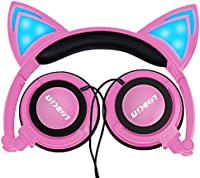 LOBKIN Foldable Wired Over Ear Kids Headphone with Glowing Light for Girls Children Cosplay Fans,Cat Ear Headphones