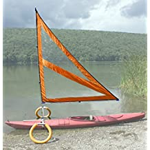 Harmony Upwind Kayak Sail and Canoe Sail Kit (Orange). Complete with Telescoping Mast, Boom, Outriggers, All Rigging Included! Compact, Portable, Easy to Set up - Start Sailing This Season!