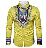 DoufineMen Autumn Casual Printing Floral Long Sleeve Africa Dress Shirts Yellow L