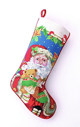Santa Claus with Teddy Bear Christmas Stocking, Wool & Velvet Needlepoint, 11 Inch X 18 Inch (Teddy Bear Christmas Stocking)