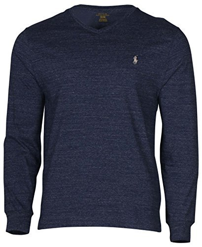 Polo Ralph Lauren Men's Long Sleeve V-Neck Pony T-Shirt-Gentian Blue Heather-Medium
