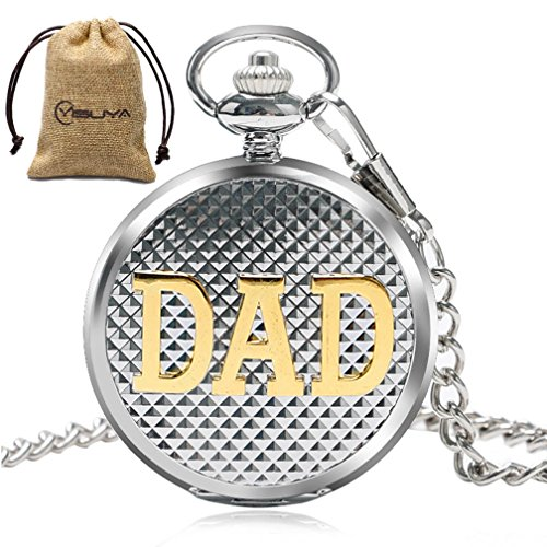 Father Dad Quartz Pocket Watch Roman Numberal Silver Pendant Chain Creative Gift for Daddy Clock -