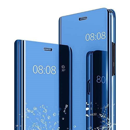 (Case Compatible with Galaxy S8/S8 Plus, Plating Mirror Hard PC Case Translucent View Flip Folio Stand Full Protective Phone Cover for Galaxy S8/S8 Plus (Blue, Galaxy S8) )