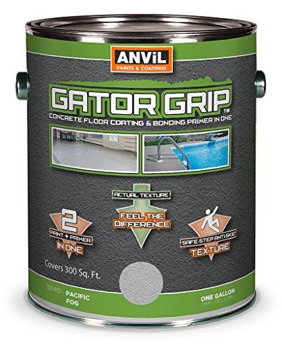 Anvil Gator Grip Concrete & Garage Floor Paint & Bonding Primer In-One, Interior Exterior, Anti-Slip Coating, Pacific Fog, 1 Gallon