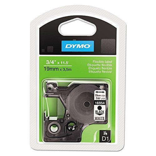 DYMO 16954 D1 Flexible Nylon Label Maker Tape, 3/4in x 12ft, Black on White