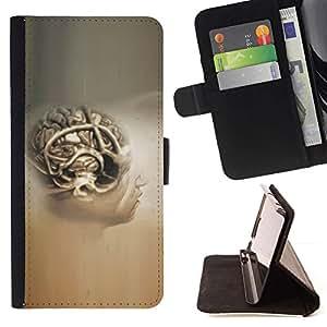 Momo Phone Case / Flip Funda de Cuero Case Cover - Cerebro Humano Anatomía Arte Dibujo Pintura Cabeza - HTC One M9