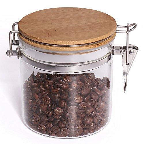 , 20.3 FL OZ (600 ML), Glass Food Storage Jar with Airtight Seal Bamboo Lid, Snap-Fit White Glass Food Storage Canister for Serving Tea, Coffee, Spice and More (Jar Brown Sugar)