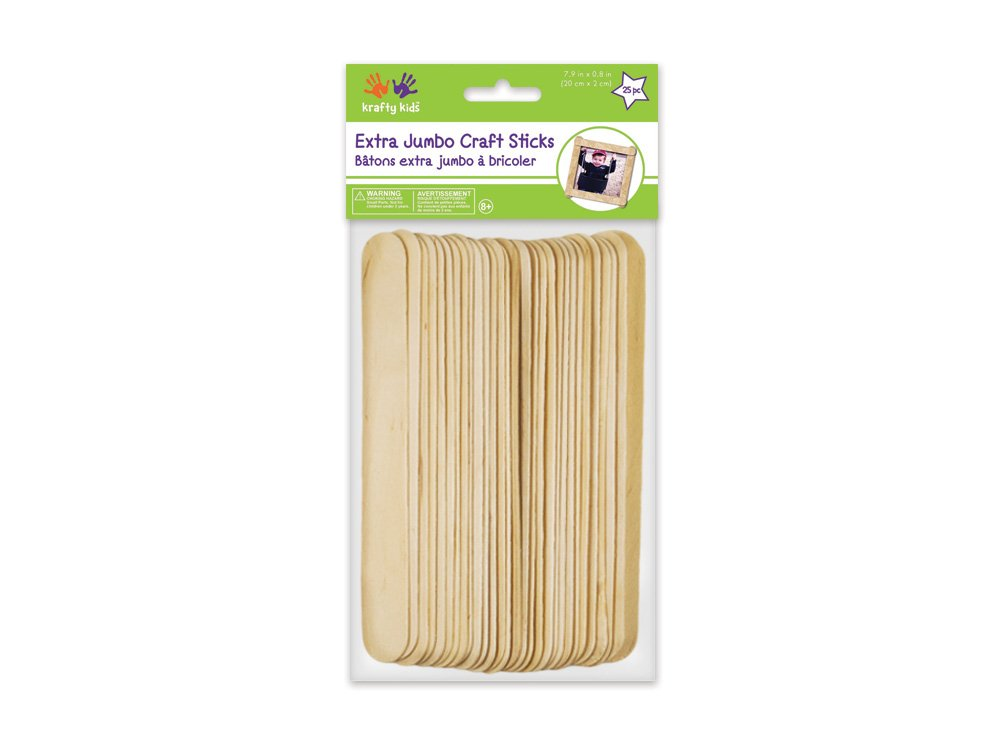 Extra Jumbo Craft Sticks-Natural 7.9 inch x 0.8 inch 25/Pk Notions - In Network 133122