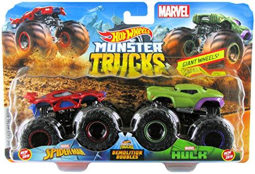 Hot Wheels 2019 Monster Trucks Demolition Doubles Spiderman vs Hulk 1:64