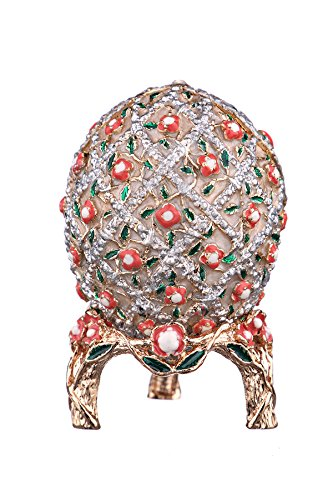 Russian Faberge Style Egg / Trinket Jewel Box Grid with Flowers cream 2 3/4''