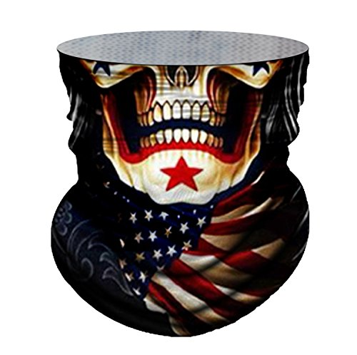 Skull Face Mask US Flag Bandana Mask Breathable Windproof Neck Warmer Headwear for Bike Cycling Motorcycle Running Hunting Climbing Fishing Snowboard Ski Hiking Sports Balaclava 3D Face Tube Mask - Youth Snowboard Packages