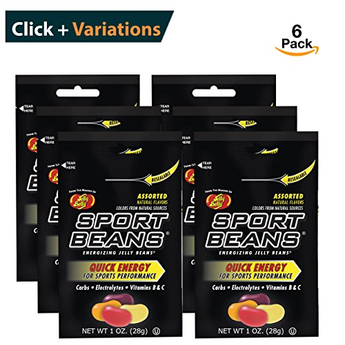 Jelly Belly Sport Beans [6-Pack] Assorted Sport Beans (Orange, Fruit Punch, Green Apple, Juicy Pear, Lemon Lime, Berry) Click for more (Orange Sport Beans)