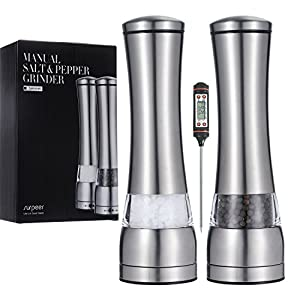 Salt and Pepper Shakers, SURPEER Manual Pepper Grinder with Adjustable Ceramic Grinding Core, Stainless Steel and Acrylic Glass - Easy to Use Pepper Mill for Spice(Meat Thermometer Included) - 2 Sets
