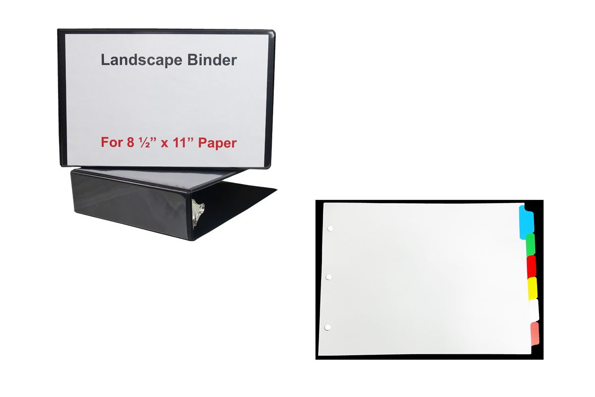2'' Black Heavy Duty Landscape Binder with - 1 Set of 6 Color Blank tabs - Both for 8 1/2'' x 11'' Standard Size Paper- Tabs are Printable