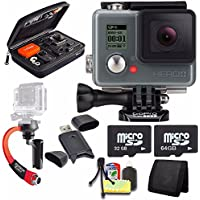 GoPro HERO+ LCD + Steadicam Curve for GoPro HERO Action Cameras (Red) + 32GB Memory Card + 64GB Memory Card + Case for GoPro HERO4 and GoPro Accessories + 6pc Starter Kit Bundle