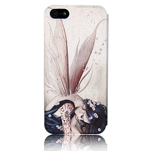 JewelryWe Sexy Wind Wizard schöne Mädchen mit Flügeln Blumen Leder Handy Case mit Fenster Schutzhülle Tasche Hülle Etui Flip Cover für Apple iPhone 5/5S, Farbe Blassrosa Rot
