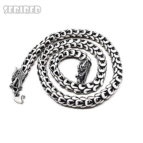 Dixinla 925 Sterling Silver Dragonscale Necklace Men Big Statment Solid Silver Chain Necklaces Dragon Head Jewelry Making