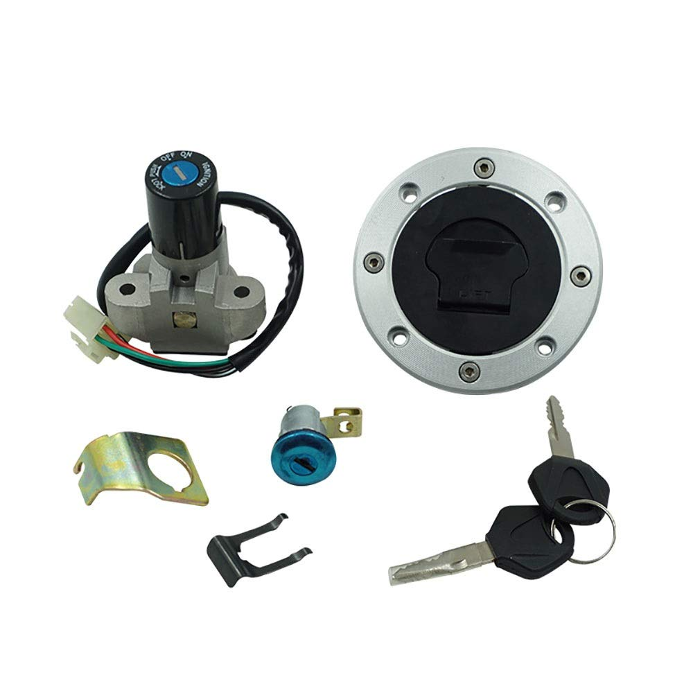 XM-Accesorios de motos Easy to Install Ignition Switch Fuel Gas Cap Cover Seat Lock Key Set Compatible Suzuki GS500 2001-2012 Durable