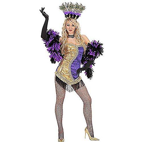 [Ladies Gold/purple Vegas Showgirl Costume Medium Uk 10-12 For 70s Disco Fancy] (Vegas Showgirl Costumes)