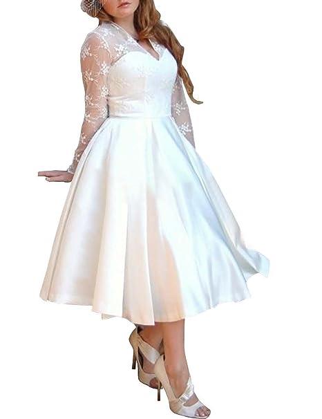 Mulanbridal Women\'s V Neck Long Sleeves Tea Length Short Wedding Dress  Satin Plus Size Bridal Gowns