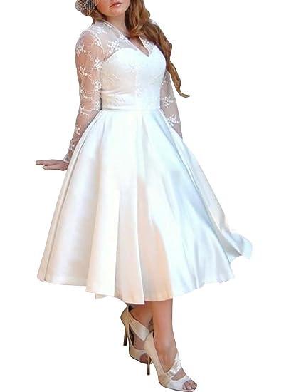 Mulanbridal Women S V Neck Long Sleeves Tea Length Short Wedding