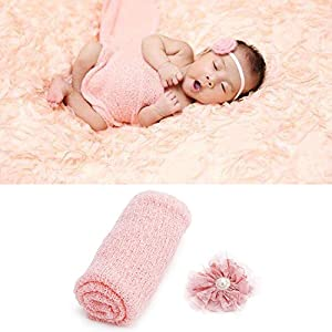 Newborn Baby Photography Props - Long Ripple Wrap Blanket and Lace Beads Headband