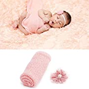 UIMagic Newborn Baby Photography Props - Long Ripple Wrap Blanket and Lace Beads Headband (Pink)