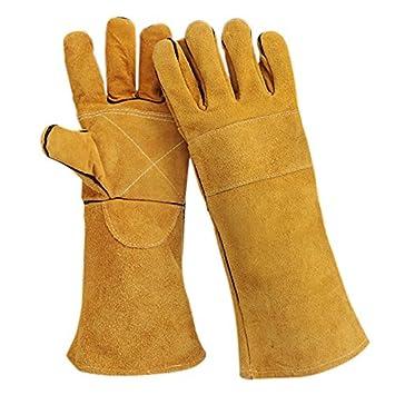 Woodturner guantes seguridad protectora – Guantes de soldadura soldador guanteletes alta temperatura resistente al calor guantes