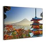 MoulMa Contemporary Mt. Fuji with Chureito Pagoda in Autumn Fujiyoshida -Photo Paintings Canvas