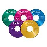 VER94300 Verbatim 94300 CD-RW Discs, 700MB/80min, 4X, Slim Jewel Case, Assorted Colors, 20/Pack