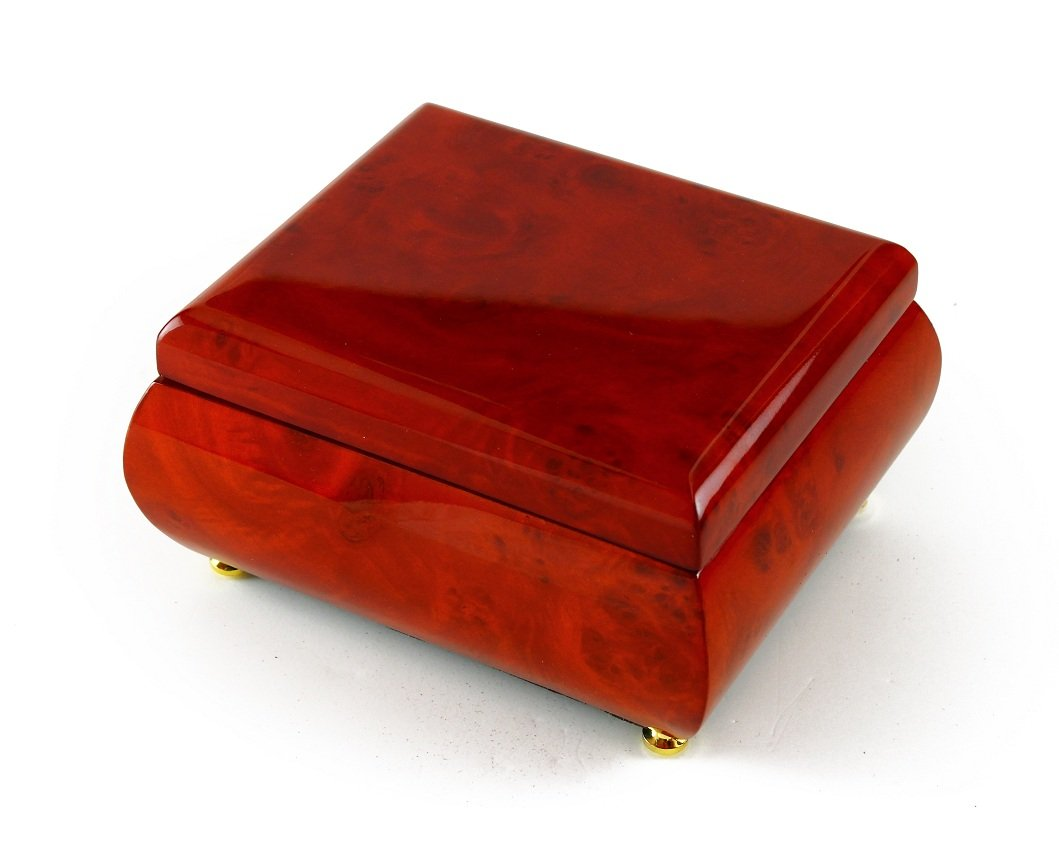 Astonishing Hi Gloss Wood Tone Petite Music Box - God Bless America (Irving Berlin) - SWISS by MusicBoxAttic