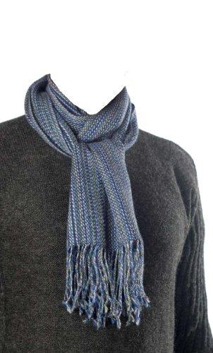 "Alpaca 100% Hand Woven Exquisitely Fine Blue Tones Scarf Peru Fair Trade 9""x66"""
