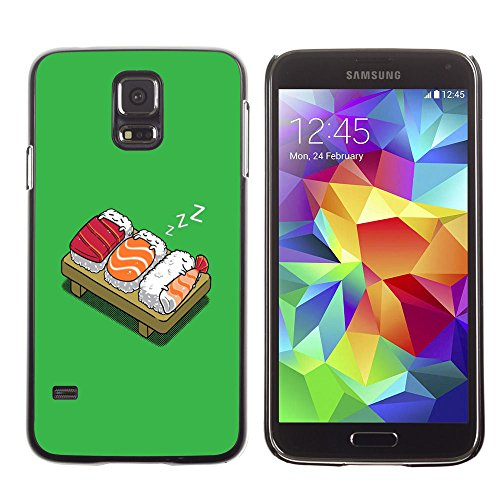 amsung Galaxy S5 sushi food fish japanese rice cartoon drawing art / Slim Black Plastic Case Cover Shell Armor