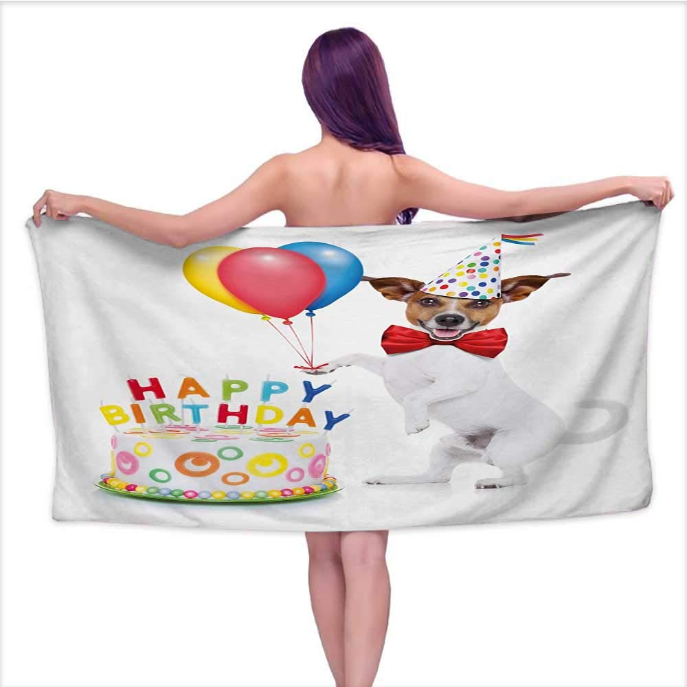 Onefzc Bath Towel Kids Birthday Celebration Dancing Party Dog with Cake and Colorful Balloons Artwork Print Super Soft Highly Absorbent W35 x L12 Multicolor