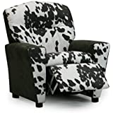 Toddler Upholstered Recliner, Children's Reclining Armchair Cup Holder, Chair That Reclines for Children, Fun Kids Urban Cowboy Cow Cattle Country Theme Bedroom Furniture, Designer Faux Suede Cowhide